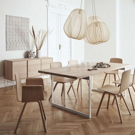 Prostokątny stół z drewnianym blatem Frame