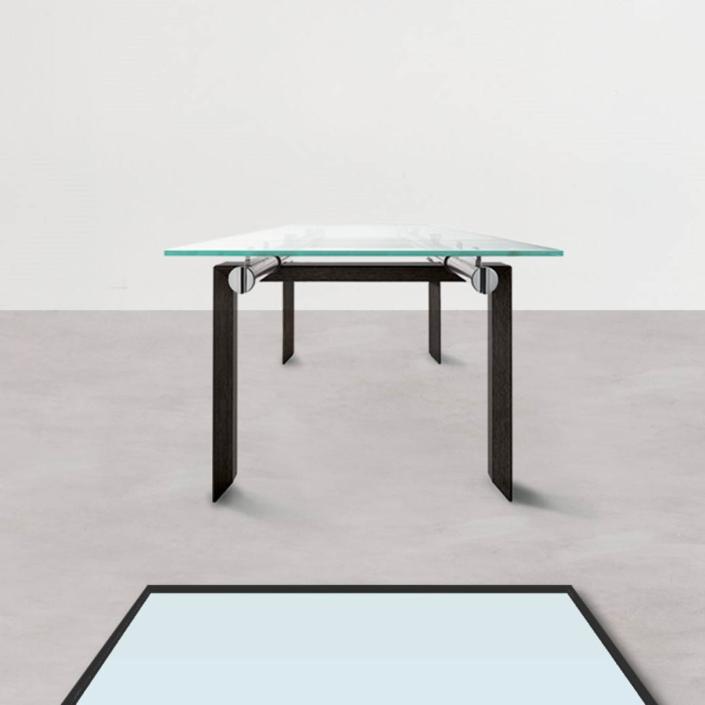 Prostokątny stół ze szklanym blatem Stilt