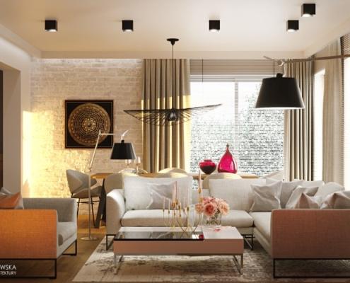 Przytulny salon i jadalnia w nowoczensym stylu