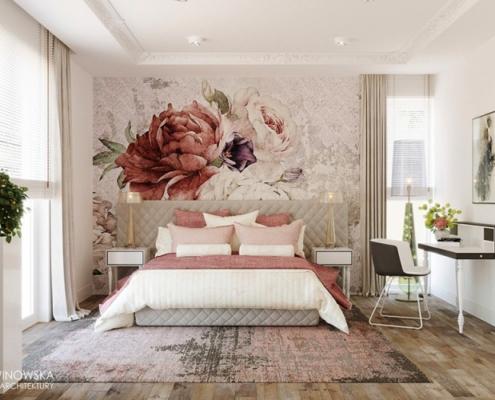 Rożowy akcent w jasnej sypialni