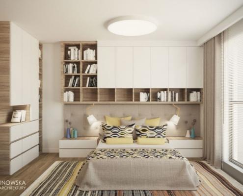 Skandynawska sypialnia z odrobiną koloru
