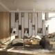 Skandynawski styl w nowoczesnym salonie z kuchnią i jadalnią