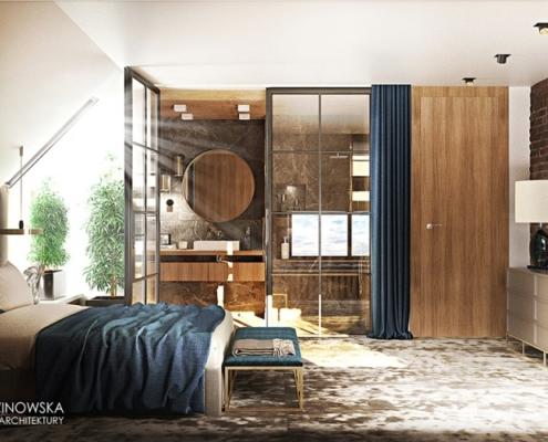 Sypialnia z łazienką na poddaszu w stylu nowojorskim