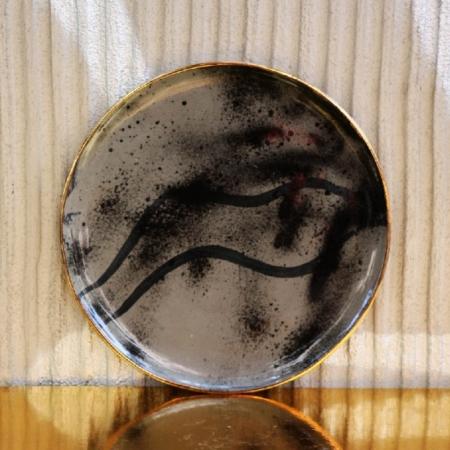 Szary talerz śniadaniowy złoto Mork