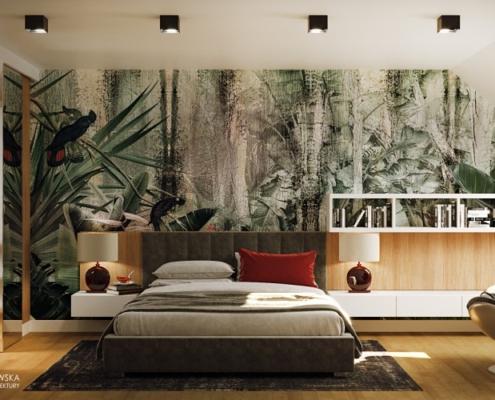 Zieleń i drewno w sypialni na poddaszu