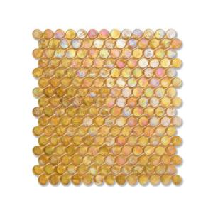 Żółta mozaika ze szkła z tęczowym refleksem BARRELS 205 HEMP