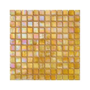 Żółta mozaika ze szkła z tęczowym refleksem CUBES 205 HEMP