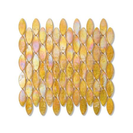 Żółta mozaika ze szkła z tęczowym refleksem DOMES 205 HEMP
