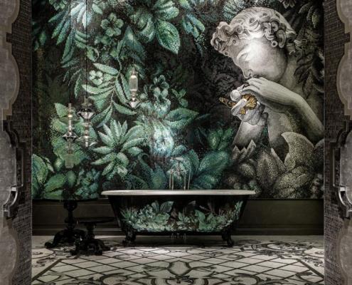 Artystyczna mozaika z łazience