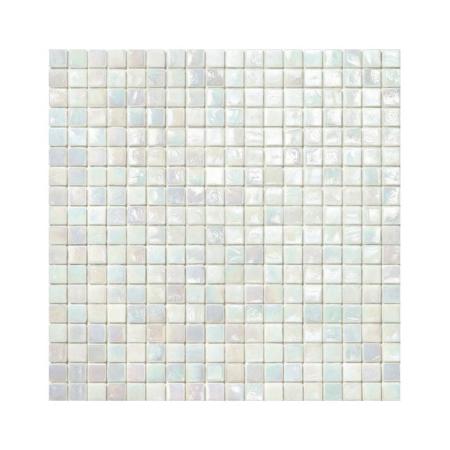 Biała mozaika ze szkła z tęczowym refleksem 120 PASSION FRUIT