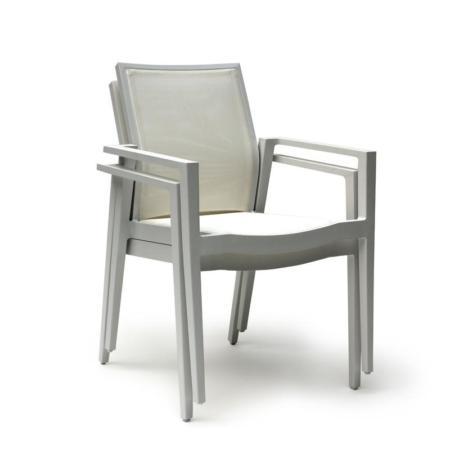 Białe krzesło ogrodowe z podłokietnikami LISA