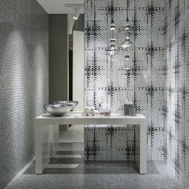 Biało Szara Mozaika W łazience Inspiracja Homesquare