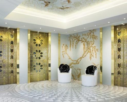 Biało-złota mozaika w holu