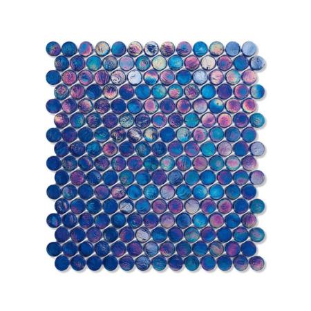 Ciemnoniebieska mozaika ze szkła z tęczowym refleksem BARRELS 219 SILK