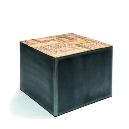 Czarny stolik kawowy wykończony drewnem DYNA