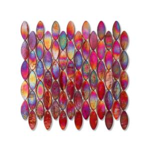 Czerwona mozaika ze szkła z tęczowym refleksem DOMES 240 WOOL