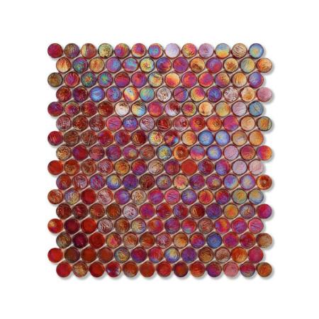 Czerwona mozaika ze szkła z tęczowym refleksem BARRELS 240 WOOL