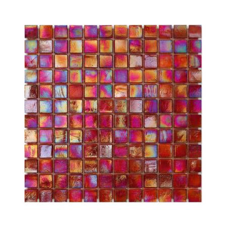 Czerwona mozaika ze szkła z tęczowym refleksem CUBES 240 WOOL