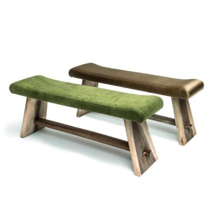 Drewniana ławka z tapicerowanym siedziskiem SAMMY
