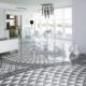 Geometryczne płytki podłogowe w jasnej jadalni
