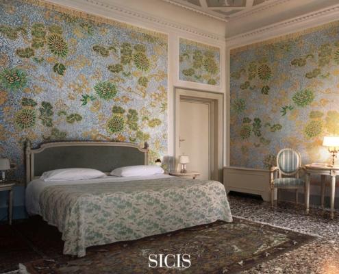 Klasyczna sypialnia ze ścienną mozaiką
