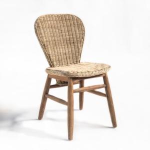 Krzesło bez podłokietników drewno i wiklina ELEGANCE