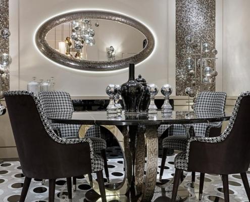 Mała, srebrna jadalnia w stylu glamour