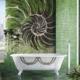 Mozaika ozdobna w zielonej łazience