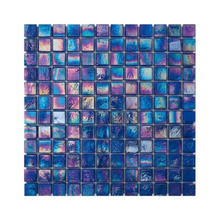 Niebieska mozaika ze szkła z tęczowym refleksem CUBES 219 SILK