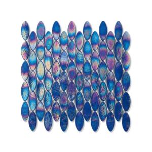 Niebieska mozaika ze szkła z tęczowym refleksem DOMES 219 SILK
