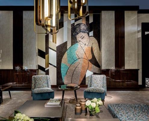 Obraz z mozaiki ozdobnej w salonie