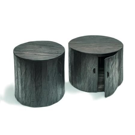 Okrągłe, czarne stoliki kawowe z szafką ORLY