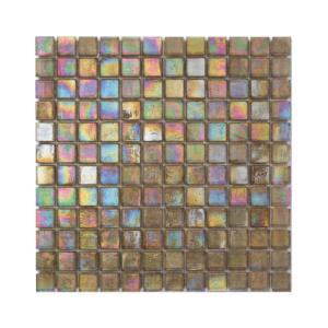 Oliwkowa mozaika ze szkła z tęczowym refleksem CUBES 210,5 SATIN