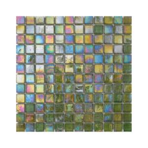 Oliwkowa mozaika ze szkła z tęczowym refleksem CUBES 244 TWEED