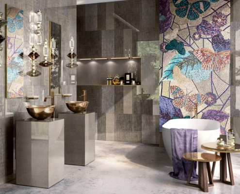 Ozdobna mozaika w motyle - łazienka