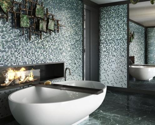 Piękna mozaika dekoracyjna w nowoczesnej łazience