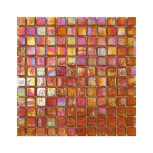 Pomarańczowa mozaika ze szkła z tęczowym refleksem CUBES 203 JUTE