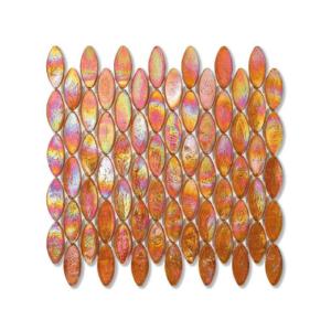 Pomarańczowa mozaika ze szkła z tęczowym refleksem DOMES 203 JUTE