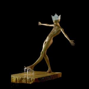Rzeźba fontanna z brązu Chłopiec Małgorzata Chodakowska