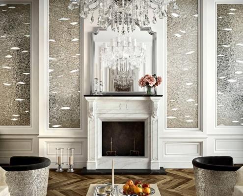 Srebrna mozaika w klasycznym salonie