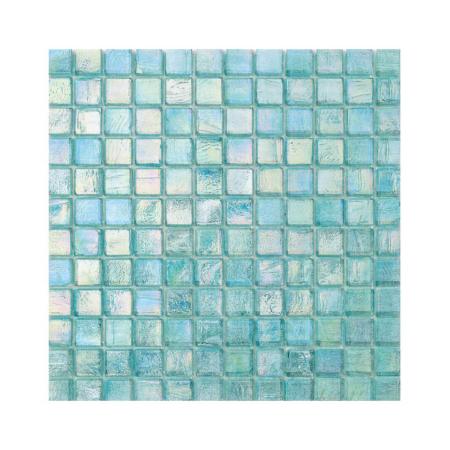 Turkusowa mozaika ze szkła z tęczowym refleksem CUBES 242 ORGANZA