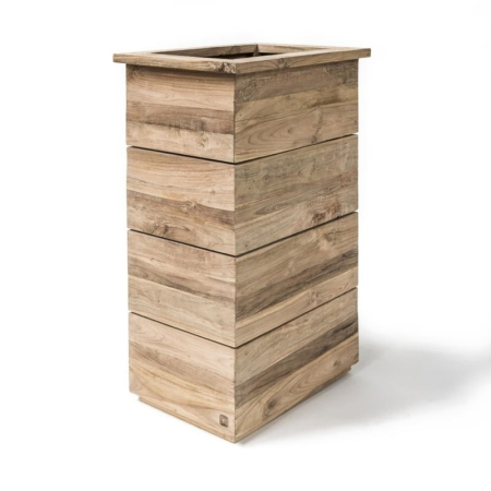Wysoka, prostokątna donica ogrodowa z drewna FERDY