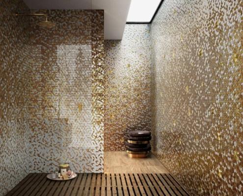 Złocista mozaika w saunie