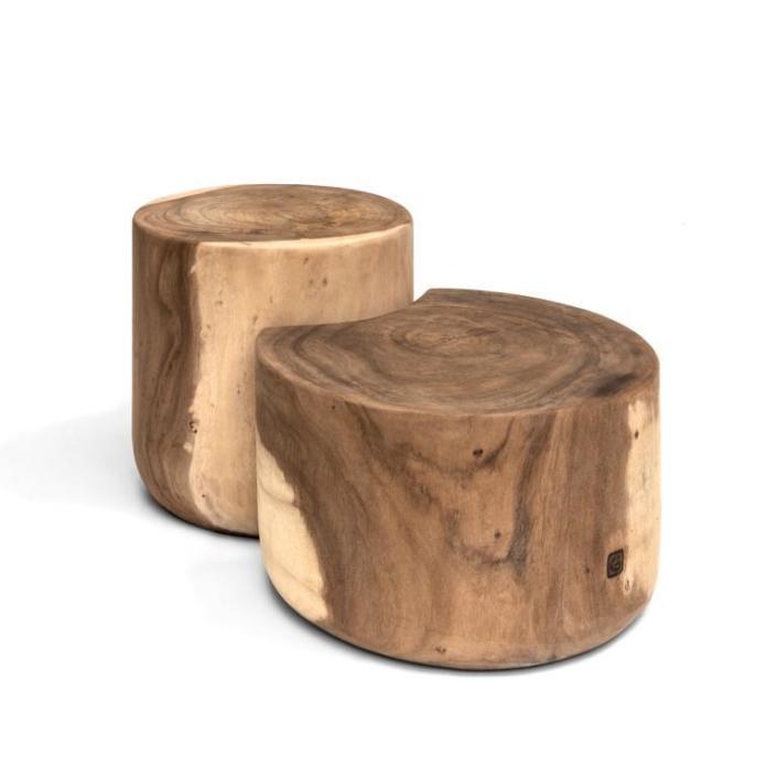 Zestaw drewnianych, okrągłych stolików kawowych LUDOVICA