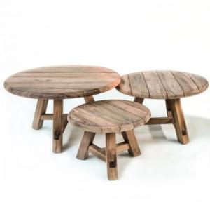 Zestaw ogrodowych stolików kawowych z drewna ANTON