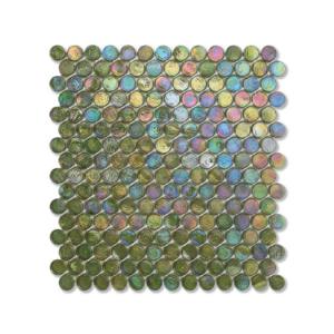 Zielona mozaika ze szkła z tęczowym refleksem BARRELS 244 TWEED