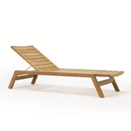 Nowoczesny leżak ogrodowy z drewna Costes