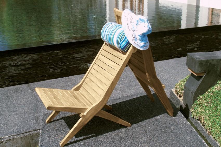 Drewniany fotel ogrodowy zewnętrzny składany Savana