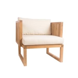 Drewniany tapicerowany fotel ogrodowy Code