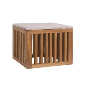 Kwadratowy stolik pomocniczy zewnętrzny z marmurowym blatem Code